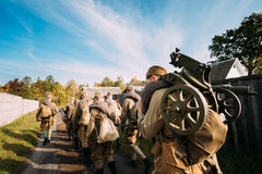 Group Of Re-enactors Dressed As Soviet Russian Red Army Infantry Royalty Free Stock Images