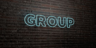 GROUP -Realistic Neon Sign on Brick Wall background - 3D rendered royalty free stock image Royalty Free Stock Images