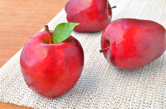 Group of red apples and green leaf Royalty Free Stock Images