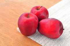 Group of red apples on napery Royalty Free Stock Images