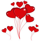 Group of red balloon hearts on strings. Happy valentines day. Ve Stock Photography