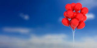 Red balloons on blue sky background. 3d illustration. Group of red balloons on blue sky background. 3d illustration Royalty Free Stock Photo
