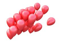Group of red balloons. 3d illustration royalty free illustration