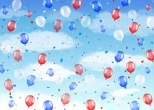 Group of red blue white helium balloons on a sky. A group of red blue white helium balloons on a sky Stock Images