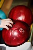 Group of red bowling ball. Royalty Free Stock Photos