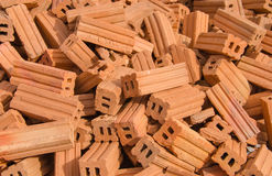 group of red bricks on construction site Royalty Free Stock Image