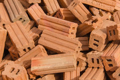 group of red bricks on construction site Stock Photography