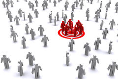 Group of red business man standing out from white business man. Royalty Free Stock Photography