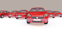 Group of red cars Royalty Free Stock Photos