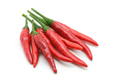 Group of red chilli pepper on white Royalty Free Stock Images