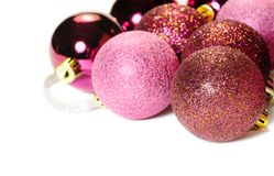 Group of red Christmas balls side view royalty free stock image