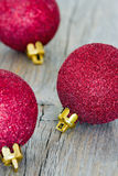 Group of red Christmas baubles royalty free stock photography