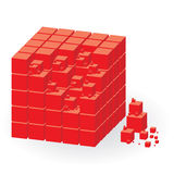 Group of red cubes Stock Images