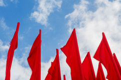 Group of red flags Royalty Free Stock Images