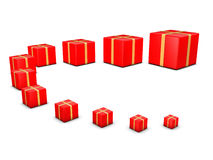 Group of red giftboxes Royalty Free Stock Image