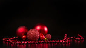 Group of red glass christmas decoration balls Royalty Free Stock Photography