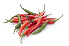Group chili peppers  on a white Royalty Free Stock Photography