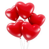 Group of red heart shaped balloons Stock Photography