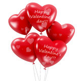 Group of red heart shaped balloons with happy Valentine's day wish Royalty Free Stock Photos