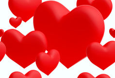 Group of red hearts seamless background () (3D render) Royalty Free Stock Images