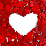 Group red hearts on white background Royalty Free Stock Photography