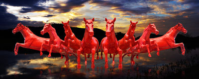 Group of red horses running with sunset sky. Background Royalty Free Stock Photos