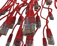 Group of red network cable Royalty Free Stock Images