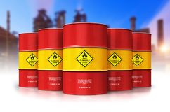 Group of red oil drums in front of refinery plant. Creative abstract oil and gas industry manufacturing and trading business concept: 3D render illustration of vector illustration
