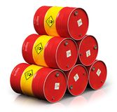 Group of red oil drums isolated on white background. Creative abstract oil and gas industry manufacturing and trading business concept: 3D render illustration of stock illustration