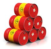 Group of red oil drums isolated on white background. Creative abstract oil and gas industry manufacturing and trading business concept: 3D render illustration of royalty free illustration