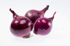group of red onions isolated on white background Stock Photography
