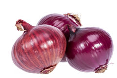 Group of red onions isolated on white background Royalty Free Stock Photo