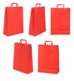Group of red papers bags on different possitions Stock Photography