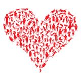 Group of red people forming a big heart Royalty Free Stock Image