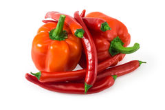 Group of the red  peppers isolated on white Stock Photo