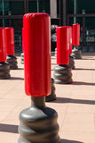 Group of Red Punching Bag for Kickboxing and Fitness Exercise Stock Photos