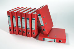 Group of red ring binders Royalty Free Stock Photos