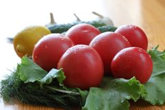 Group of red ripe tomatoes with water drops lie on a lettuce leaves. Close-up Royalty Free Stock Photos