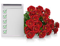Group of red roses and checklist. Render on a white background Royalty Free Stock Image