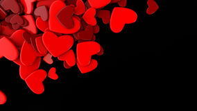 The group red scattered hearts on a black background. Valentine`s day background. Valentine`s day background. 3d render illustration Stock Images