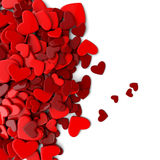 The group red scattered hearts on a white background. Valentine`s day background. The group scattered hearts on a white background . Valentine`s day background Stock Photo