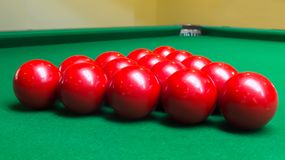 Group of Red Snooker Balls on Snooker Table Stock Photos