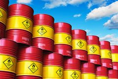 Group of red stacked oil drums against blue sky with clouds. Creative abstract oil and gas industry manufacturing and trading business concept: 3D render vector illustration