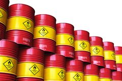 Group of red stacked oil drums isolated on white background. Creative abstract oil and gas industry manufacturing and trading business concept: 3D render royalty free illustration
