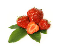 Group of the red strawberries isolated on white. Buckground Royalty Free Stock Photos