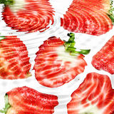 Group of red strawberryes under water Stock Photography