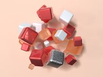 Group of red white orange geometric shape levitation 3d rendering abstract scene stock photo