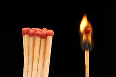 Group of red wooden matches standing with burning match. Isolated on black background Royalty Free Stock Photos
