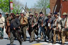 Group of Reenactors Parading in Bedford, Virginia royalty free stock images