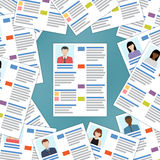 Group of resumes with one in the center. Royalty Free Stock Images